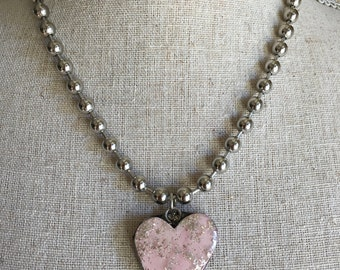 Large Pink Glitter Heart Pendant Necklace Handmade Valentine's Day