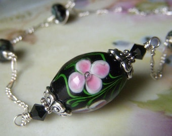 Floral Lampwork Necklace, Sterling Silver Chain Necklace, Pink Black Encased Lampwork Necklace, Pink Plumeria Flower Necklace Choker