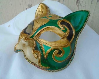 Vintage Nineties Hand Made Green and Gold Paper Mache Cat Face Mask with Music Note Accents / Made in Venice Italy