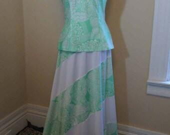 70s Green medallion print dress Vintage Long Maxi skirt Patchwork skirt Cut away Top 2 piece dress 70s vintage green print dress S M
