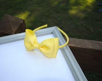 Schoolgirl Headband - Large Yellow Bow on Headband - Older Girls Hair Accessory - Yellow Grosgrain Bow - Big Bow Headband for Spring, Summer
