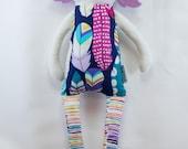 SALE-Lavender Hair Doll- Purple Doll- Feathers- Cloth Doll-Fabric Doll-Modern Rag Doll- Baby's First Doll- Baby Gift- Nursery Decor