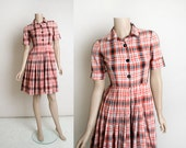 Vintage 1960s Plaid Dress - Heart Print Country Girl Picnic Cotton Day Dress - Black Gray and White - Button Up Shirtdress  Rockabilly Small
