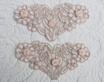 Vintage Alencon Lace Appliques - 2, Blush Pink, Lot of two Embellishments....Seed pearls, ribbon rose & pale silver metallic thread accents