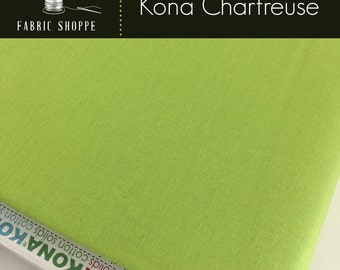 Kona cotton solid quilt fabric, Kona CHARTREUSE 1072, Kona fabric, Solid fabric Yardage, Kaufman, Green fabric, Choose the cut