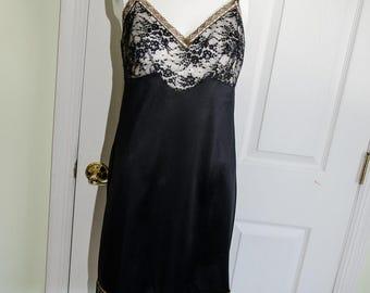 Vintage 50's Van Raalte Black Nylon Lace Slip
