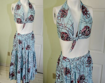 Vintage 1980's Bikini Top and Matching Skirt Small