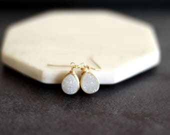 White Druzy earrings gold teardrops opalescent shimmery icewhite dangles Under 55 Vitrine Designs