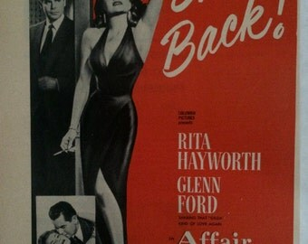 "Original Vintage Film Noir ""Affair in Trinidad"" Rita Hayworth Trade Ad Print Illustration Photoplay Magazine 1952"