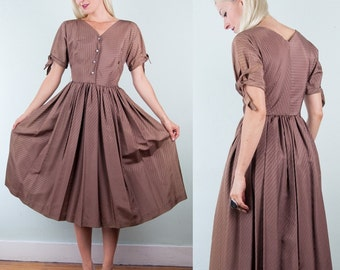 Mauve Toffee Vintage 1950s 50s Satin Rayon PARTY DRESS Full Skirt Rhinestone BEAUTIFUL! s