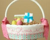 Personalized Easter Basket, Monogrammed Easter Basket Liner, fits Pottery Barn Kids Easter Baskets, Dainty Darling Aqua Ticking Stripe