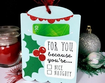 Christmas Gift Card Holder Tag - Holiday Gift Card Holder Tag - Naughty or Nice Gift Card Sleeve - Tip Envelopes, Money Cards, Holly