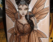 Myka Jelina Original Acrylic Painting Reina Fairy Queen Bronze Ornate Fae Art