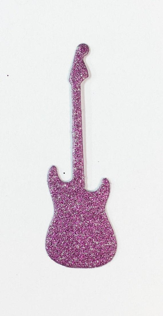 "Electric Guitar Die Cut Pink Glitter Sticker Rock N Roll 2"" Embellishment Scrapbook Greeting Card Mixed Media Paper Art Craft Altered Attic"