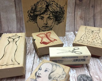 Rubber Stamps, Lady in waiting , Romance, DIY, Craft Stamps ,Corset, Rubber Stamp Lot