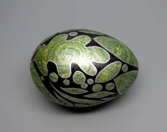 Hand Painted Goose Egg, Silvery Green, Leaves and Swirls, Easter Egg, Spring Decor