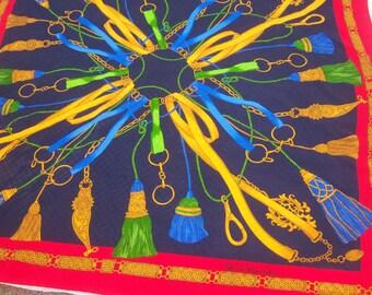 Vintage Renato Balestra silk scarf / equestrian scarf / tassels tack chains / royal baroque Italian designer / red navy gold, 33x32 square