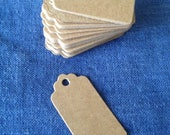 Set of 50 small Plain brown kraft card swing tag / price tag label, gift tag, wedding favour tags, scalloped edge.