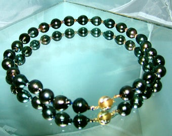 14k Yellow Gold Diamond Accented Ball Clasp Genuine Huge 14 mm Tahitian South Sea Pearl Necklace