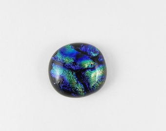 Dichroic Fused Glass Cabochon - Yellow Green Blue - 1743 - 19mm x 18mm