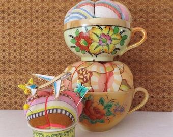 Colorful Pincushion Floral Pincushion Gypsy Bohemian Spring Decor Brooch Holder Vanity Pin Storage Tea Cup Pin Cushion Vintage Pin Cushion