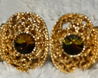 Vintage 1970's SWANK Mens Cufflinks Multi-Colored Stone, Gold Mesh closers, retro 70's fashion design style Formal Jewelry