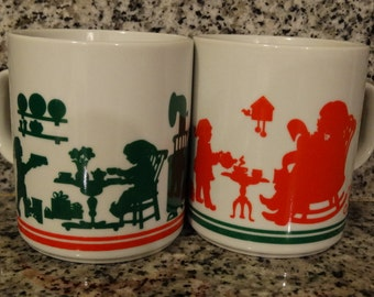 1980's Christmas Mugs, Red & Green Hot Cocoa Mug, Coffee Mug, Christmas, Fathers Day Mug Avon Christmas Cookie mug, ceramic coffee mug