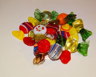 Vintage Glass Wrapped Candy, Murano Glass Candy, Holiday Decorations, Wrapped Candy, Multi-colored Glass Candy Pieces (12) - Lot #4