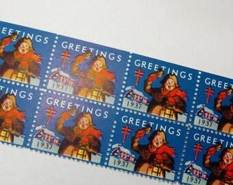 "Vintage Christmas Seals 1937 Vintage Paper Ephemera, ""Greetings"" Christmas Seal Stamp, Package Decor, Letter Stamps, Bell Ringer"