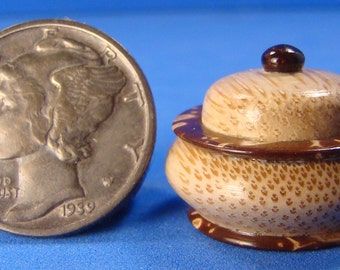 "1:12 - 1"" Scale Tropical Bamboo & Coconut Shell Box - IGMA Fellow Helmer Lathe Turned Dollhouse Miniature"