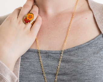 Vintage Orange and Red Flower Cameo Ring, Vintage Ring, Floral Jewelry, Statement Ring