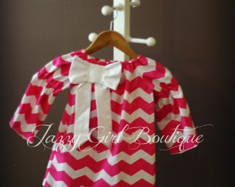 Girls Pink Chevron Peasant Dress with White Bow Accent  Sizes 12mo through 12 years