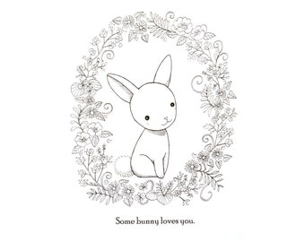 Bunny Rabbit Illustration Print Bunny Drawing Print Black & White Wall Art Love Illustration Woodland Nursery Wall Decor Cute Bunny Rabbit