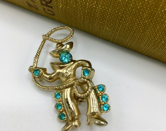 Vintage  Brooch, Cowboy with Lasso, Blue Rhinestones, Vintage Costume Jewelry