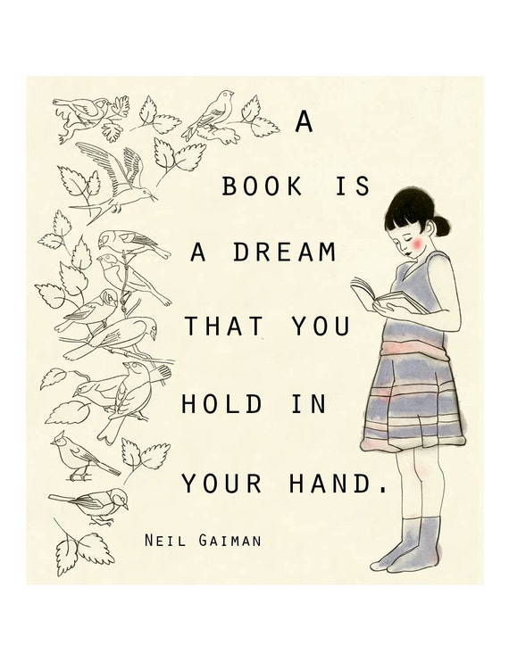 Typography Reading quote illustration A Book is Dream