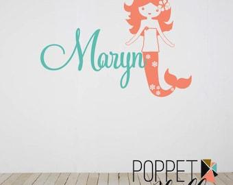 Mermaid Decal with Name - Custom Mermaid Wall Decal Vinyl Set - Ocean Girl Bedroom - Vinyl Wall Decal Ocean Mermaid - CM147