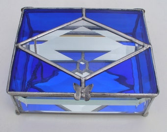 Stained Glass Jewelry Box with Bevel Sides and Mirror Bottom, Your Choice of Color and Handle