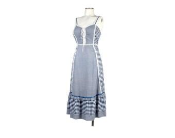 Vintage 70s Dress - 70s Sundress - 70s Gingham Dress - Blue Gingham - Corset Dress - 70s Boho Dress - Gingham Sundress - Gunne Sax Dress