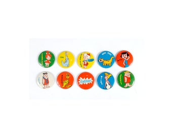 Vintage 70s Pins - 70s Buttons - 70s Pinback Buttons -  The FLINTSTONES - 1973 - HANNA BARBERA - Cartoons - 70s Flintstones - Set of 10