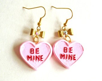 Conversation Heart Earrings Valentines Day Earrings Pink Pastel Candy Earrings Kawaii Jewelry Mini Food Jewelry Be Mine