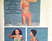 Vintage Bikini Pattern Butterick 6674 Bathing Suit Pattern  Bust 30 31 32 34 36 38 Swimsuit Separates Halter Top High Waist Shorts