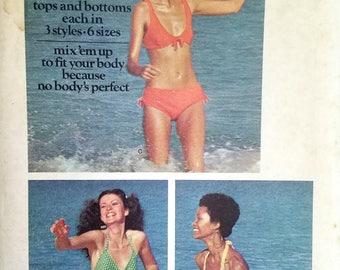 Vintage Bikini Pattern Butterick 6674 Bathing Suit Pattern  Bust 30 31 32 34 36 38 Swimsuit Separates Halter Top High Waist Shorts