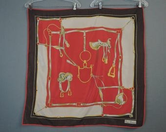 Vintage Silk Scarf with Equestrian Horse Saddle, Large 34 x 34 inches, Mari France