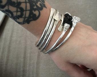 Stacked Bangles Sterling Silver Bangle Bracelets Raw Gemstone Jewelry Bangle Stack Silver Bracelets DanielleRoseBean Sterling Bangles