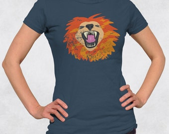 Womens lion face shirt - Big cats tshirt - Endangered species shirt - Fierce tee - Juniors fit ladies tee (See SIZING CHART in Item Details)