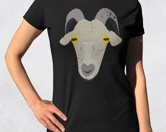 Womens goat shirt - Animal face teeshirt - Farm animal tshirt - Retirement shirt - Juniors fit ladies tee (See SIZING CHART in Item Details)