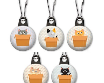Cat in box zipper pull.  Cats in boxes zipper pull charm.  Cat zipper pull.  Cat charm.  Funny cat charm.