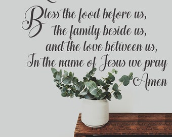 Bless The Food Before Us Vinyl Wall Decal Words, Prayer Decal, Dining Room Vinyl Decals, Kitchen Prayer, Religious Wall Decal, Family Gift