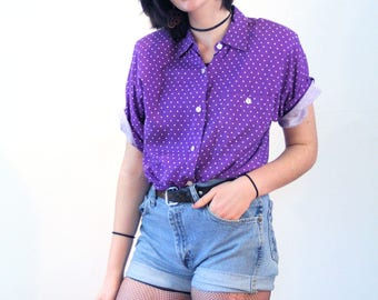80s Purple Polka Dot Shirt M, Ki Ko Mo Vintage Top, Purple Polka Dot Blouse, Rayon Polkadot Blouse, Purple & White Dotted Shirt