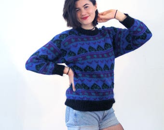 Rosine, 80s Mohair Sweater M, Blue Patterned Mohair Pullover, Purple Mohair Jumper, Fuzzy Sweater, Chunky Mohair Blend Vintage Sweater